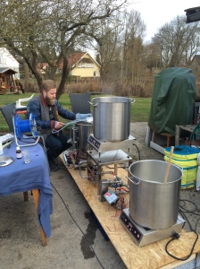 Andreas helping out with brewing